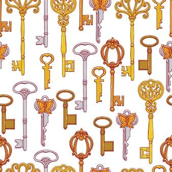 Piękne bezszwowe tło pomarańczowych kluczy vintage na niebieskim tle. ręcznie rysowana ilustracja