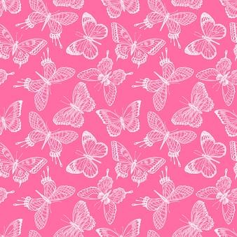 Piękne bezszwowe tło szkic różowe motyle. ręcznie rysowana ilustracja