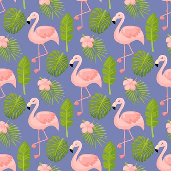 Piękne bezszwowe tło wzór kwiatowy lato z liści tropikalnych palm flamingo