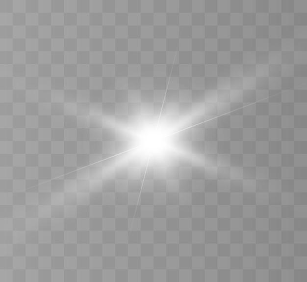 Piękne białe światło. jasna gwiazda, jasny błysk