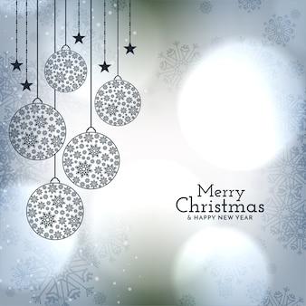 Piękne bombki na błyszczącym tle merry christmas