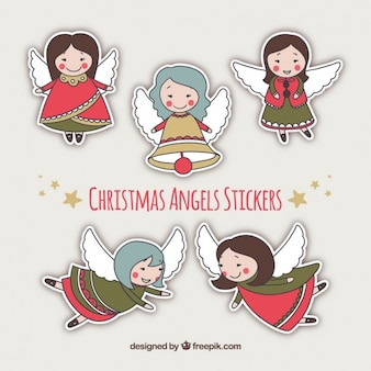Piękne boże narodzenie anioły i etykiety