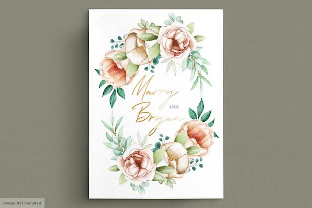 Piękne bukiety kwiatów i wieniec akwarelowy