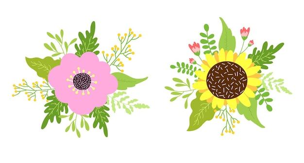 Piękne bukiety kwiatowe z delikatnymi pastelowymi kwiatami. ręcznie rysowane ilustracja kwiatowy, płaska konstrukcja