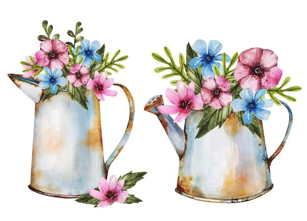Piękne bukiety ziół w starych zardzewiałych metalowych wazach w ogrodzie
