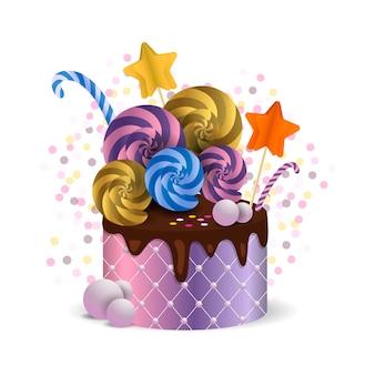 Piękne ciasto z czekoladą i cukierkami