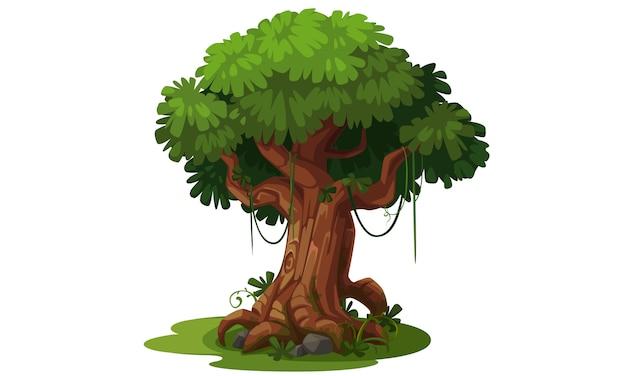 Piękne drzewo do ilustracji wektorowych motyw dżungli