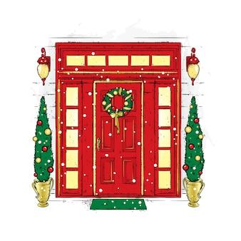 Piękne drzwiczki z wieńcem bożonarodzeniowym, lampionami i jodłami po bokach.
