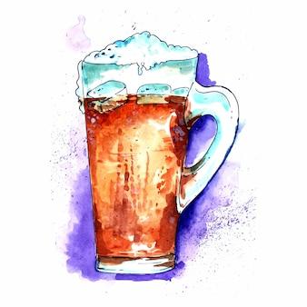 Piękne dwa kubki napojów piwnych z dużą ilością piankowego tła akwareli