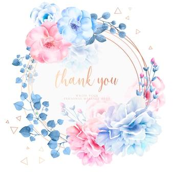Piękne dziękuję karty z kwiatami akwarela