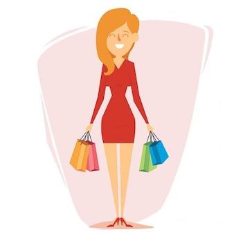 Piękne dziewczyny na zakupy ilustracji