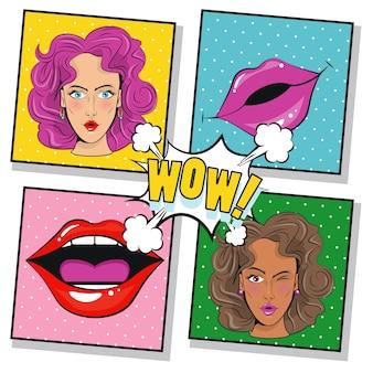 Piękne dziewczyny postacie i usta plakat w stylu pop-art.