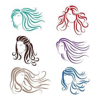 Piękne dziewczyny z długimi falującymi włosami. sylwetki wektorów