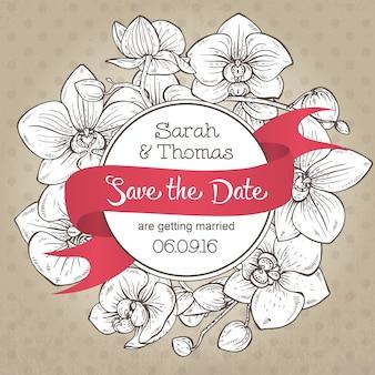 Piękne eleganckie zaproszenie na ślub z kwiatami orchidei