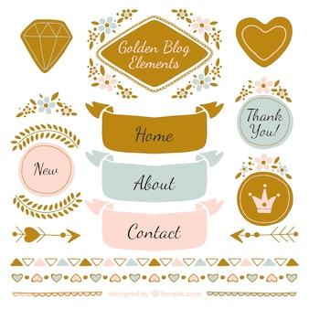 Piękne elementy blogi ustawione w stylu vintage