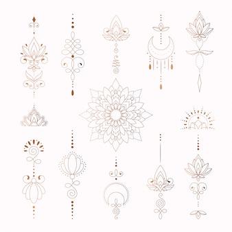 Piękne elementy plemienne do projektowania tatuaży kobiety