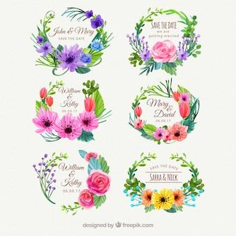 Piękne etykiety z akwarelą kwiatowy styl