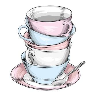 Piękne filiżanki i spodki w stylu vintage. herbata czy kawa.