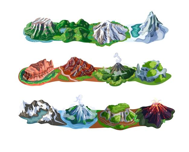 Piękne górskie krajobrazy z różnymi typami szczytów, wulkanów, skał i wierzchowców na białym tle