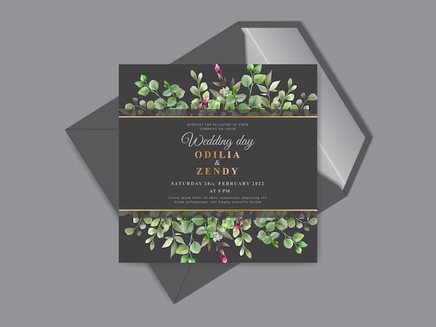 Piękne i eleganckie kwiatowy ręcznie rysowane szablony kart zaproszenie na ślub
