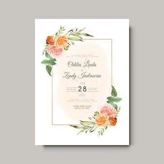 Piękne i eleganckie kwiaty i liście akwarela zaproszenia ślubne