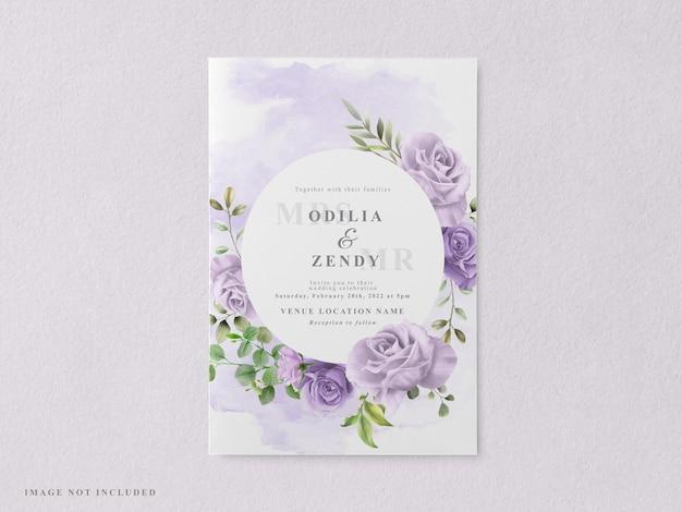 Piękne i eleganckie szablony kart zaproszenie na ślub kwiatowy