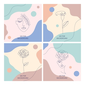 Piękne ilustracje z cienkim stylem linii i abstrakcyjnymi kształtami, koncepcja kosmetyków kosmetycznych