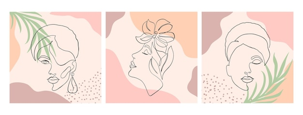 Piękne ilustracje z jednym stylem rysowania linii i abstrakcyjnymi kształtami.