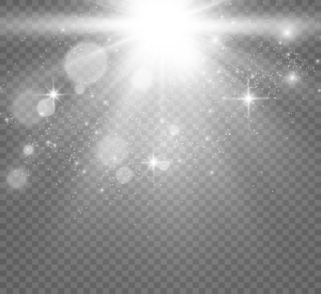 Piękne iskry błyszczą specjalnymi błyskami światła na przezroczystym