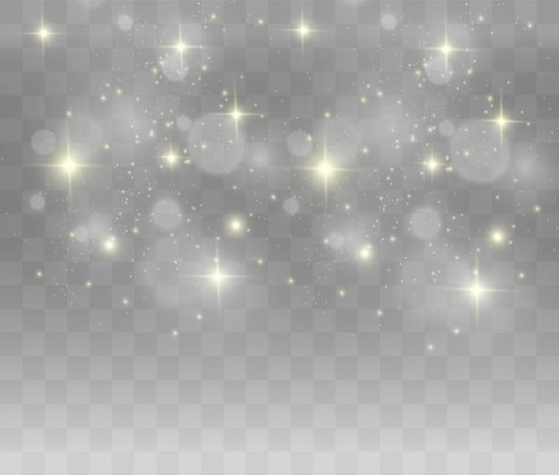 Piękne iskry świecą specjalnym światłem. błyszczy na przezroczystym tle.