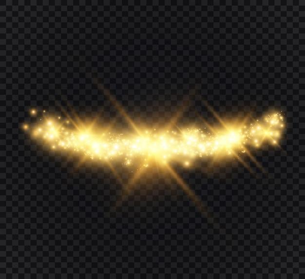 Piękne iskry świecą specjalnym światłem. błyszczy na przezroczystym.