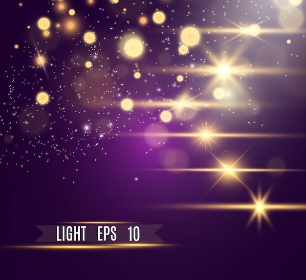 Piękne iskry świecą specjalnym światłem. błyszczy.