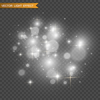 Piękne iskry świecą specjalnym światłem. wektor błyszczy na przezroczystym tle. boże narodzenie abstrakcyjny wzór. piękna ilustracja do pocztówki. tło dla obrazu. oprawy oświetleniowe.
