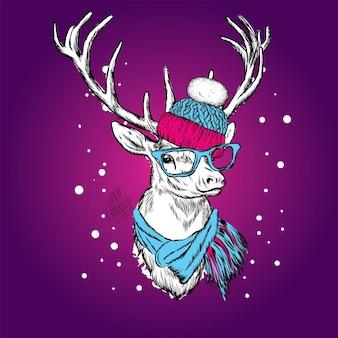 Piękne jelenie w strojach świątecznych i noworocznych