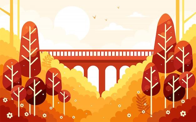 Piękne jesienne dekoracje i most