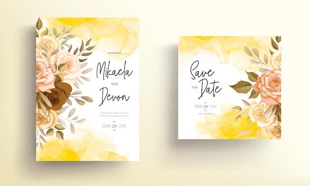 Piękne jesienne kwiaty karta zaproszenie na ślub z atramentem alkoholowym