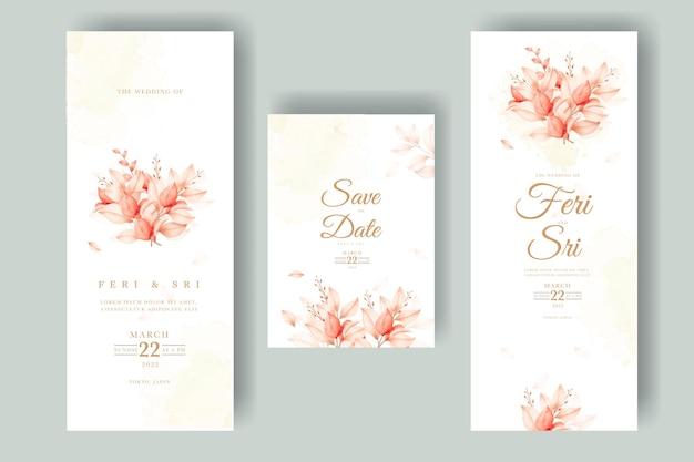 Piękne jesienne liście z zaproszeniem na ślub