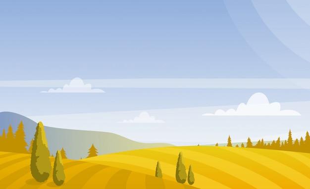Piękne jesienne pola krajobraz z niebem i górami w pastelowych kolorach. koncepcja wsi w stylu płaski.