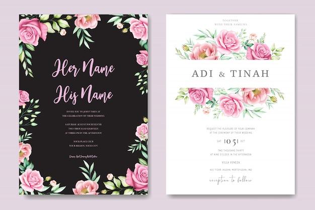 Piękne kartki ślubne róże i piwonie szablon