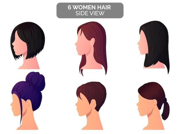 Piękne kobiety fryzura widok z boku, kok, blond, cienkie i krótkie włosy premium wektorów