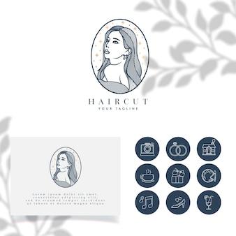 Piękne Kobiety Minimalistyczne Logo Edytowalny Szablon Premium Wektorów
