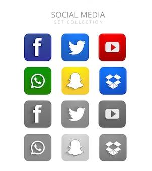 Piękne kolorowe ogólnospołeczne medialne ikony ustawiają wektor