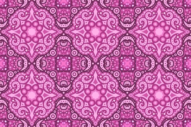 Piękne kolorowe różowe tło z rocznika wschodniej płytki bez szwu wzór