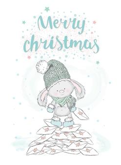 Piękne króliczki w strojach świątecznych i noworocznych