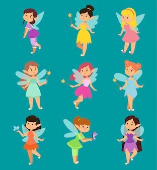Piękne księżniczki wróżki skrzydła wróżki latają postać magiczna różdżka zestaw kolekcja kreskówek