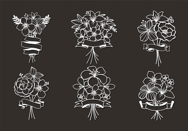 Piękne kwiatowe elementy cięte