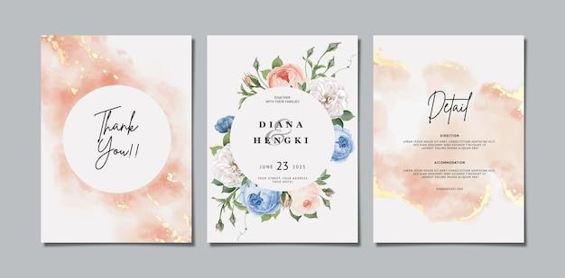 Piękne kwiatowe zaproszenie na ślub z miękką akwarelą