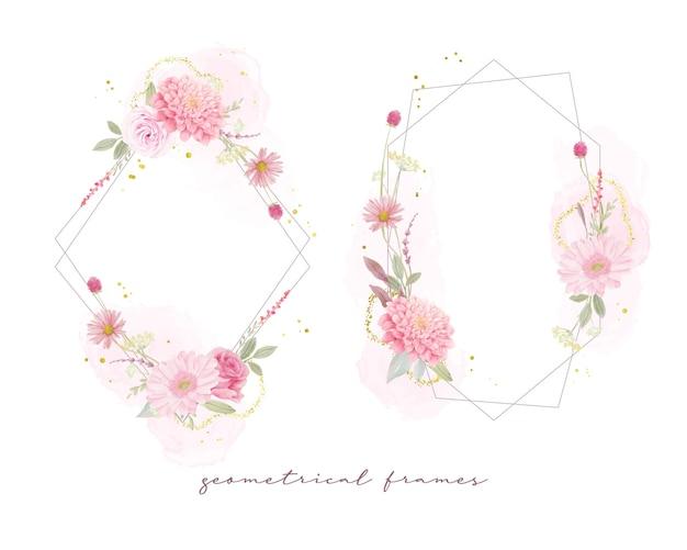 Piękne kwiatowy ramki z akwarelowymi różami, kwiatami dalii i gerbera
