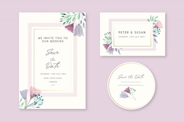 Piękne kwiatowy zaproszenia ślubne
