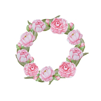 Piękne kwiaty akwarela rama. różowa kompozycja kwiatowa na białym tle